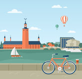 Stockholm seaside promenade, view of the City Hall. Flat illustration of seaside promenade in Stockholm, Sweden. View of the Town Hall. In the foreground a Stock Images