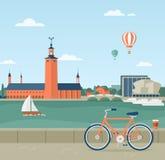 Stockholm seaside promenade, view of the City Hall. Flat illustration of seaside promenade in Stockholm, Sweden. View of the Town Hall. In the foreground a stock illustration