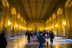 STOCKHOLM - SEP 29 , 2017: Golden Hall of the Stockholm City Hall on SEP 29 , 2017 in Sweden. Stock Photo