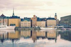 Stockholm sikt på Gamla Stan, den gamla staden Royaltyfri Foto