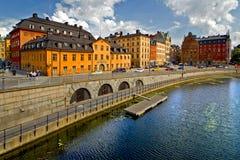 Stockholm sikt som ser över gammal stad royaltyfri bild
