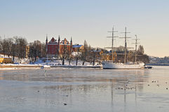 stockholm siktsvinter Royaltyfri Fotografi