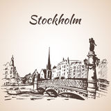 Stockholm sity street view with bridge. Sketch.   on white background Stock Images