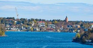 Stockholm skärgård på den soliga morgonen Fotografering för Bildbyråer
