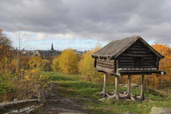 Stockholm Skansen. Swedish traditional habitat in open-air museum in Stockholm Skansen Stock Photo