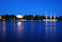 Stockholm. Skeppsholmen at night Royalty Free Stock Images