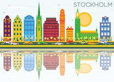 Stockholm Skyline with Color Buildings, Blue Sky and Reflections. Vector Illustration. Business Travel and Tourism Concept with Historic Architecture. Image Vector Illustration
