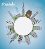 Stockholm Skyline with Grey Buildings and Blue Sky Stock Photography