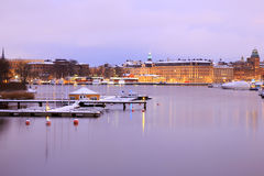 Stockholm Skyline and lake at dusk Stock Photos