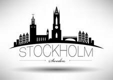 Stockholm Skyline with Typographic Design vector illustration