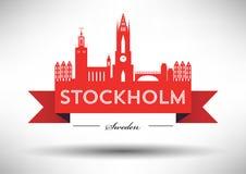 Stockholm Skyline with Typographic Design royalty free illustration