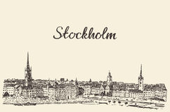 Stockholm skyline vector engraved drawn sketch Stock Photography