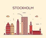 Stockholm skyline vector illustration linear Royalty Free Stock Photos