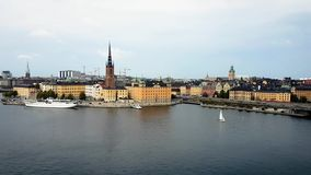Stockholm Skyline Vid 7.mp4. Stockholm Sweden mid day footage of the city centre skyline with boats, bridges, waterways and traffic stock footage