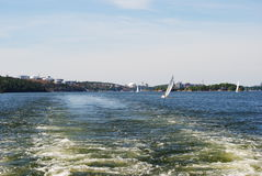 Stockholm skyline from the water. Skyline of Stockholm, Sweden, from the water outside Lidingoe stock image