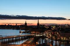 stockholm solnedgång Arkivfoto