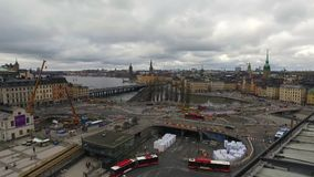 Stockholm Square From Katarina Elevator stock footage