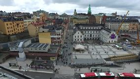 Stockholm Square From Katarina Elevator stock video footage