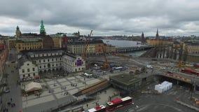 Stockholm Square From Katarina Elevator stock video