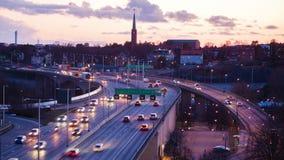 Stockholm stad på skymning lager videofilmer
