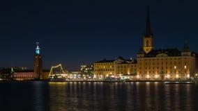 Stockholm stad på skymning stock video