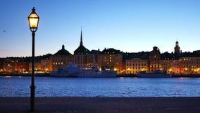 Stockholm stad vid natt, Sverige stock video