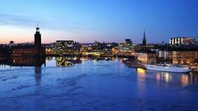 Stockholm stad vid natt, Sverige arkivfilmer