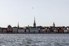 Stockholm stadsfågel i himlen Arkivfoto