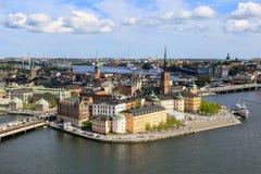 Stockholm-Stadt an einem sonnigen Tag Stockbilder