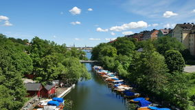 Stockholm-Stadt am Sommer stock footage