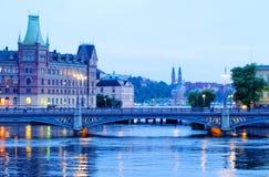 Stockholm-Stadt und -fluß Stockbilder