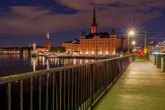 stockholm Stadtdamm bei Sonnenuntergang Stockfotografie