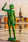 Stockholm Statue Digital Painting Stock Photography