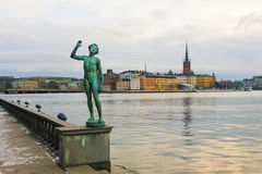 Stockholm, Statue at the embankment near the City Hall Stock Photo