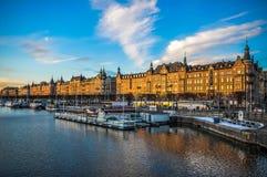 Stockholm Strandvagen lizenzfreie stockfotografie