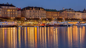 Stockholm Strandvagen at night. Stock Images