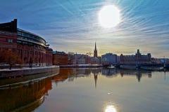 stockholm sun under arkivfoton