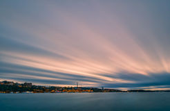 Stockholm at sunset. View from Riddarholmen. Long exposure stock images