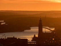 Stockholm at sunset. View of Storckholm at sunset from the Kaknas tower Stock Photos