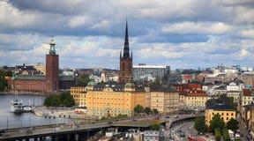 STOCKHOLM SVERIGE - AUGUSTI 20, 2016: Flyg- sikt av Stockholm fr Arkivfoto