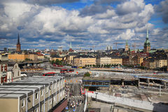 STOCKHOLM SVERIGE - AUGUSTI 20, 2016: Flyg- sikt av Stockholm fr Royaltyfri Foto