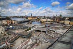 STOCKHOLM SVERIGE - AUGUSTI 20, 2016: Flyg- sikt av Stockholm fr Arkivbild