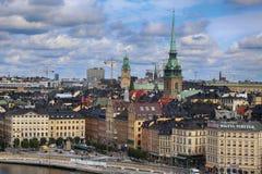 STOCKHOLM SVERIGE - AUGUSTI 20, 2016: Flyg- sikt av Stockholm fr Arkivbilder