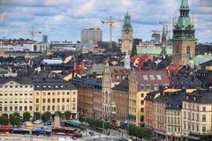 STOCKHOLM SVERIGE - AUGUSTI 20, 2016: Flyg- sikt av Stockholm fr Royaltyfri Fotografi