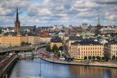 STOCKHOLM SVERIGE - AUGUSTI 20, 2016: Flyg- sikt av Stockholm fr Royaltyfri Bild