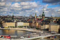 STOCKHOLM SVERIGE - AUGUSTI 20, 2016: Flyg- sikt av Stockholm fr Royaltyfria Bilder