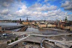 STOCKHOLM SVERIGE - AUGUSTI 20, 2016: Flyg- sikt av Stockholm fr Arkivfoton