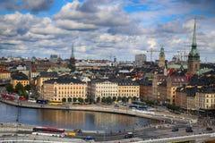 STOCKHOLM SVERIGE - AUGUSTI 20, 2016: Flyg- sikt av Stockholm fr Fotografering för Bildbyråer