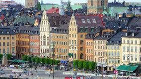 STOCKHOLM - SVERIGE, AUGUSTI 2015: gammal stadssikt stock video