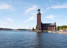 Stockholm Sverige - Augusti 22, 2015: Stockholm stadshus i centrala Stockholm, Sverige Arkivbild